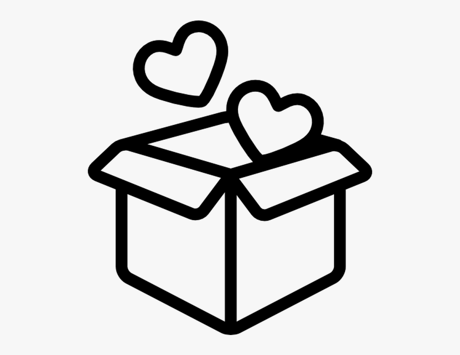 Box clipart icon jpg black and white library Open Box With Two Hearts Free Vector Icons Designed - Box Icon ... jpg black and white library
