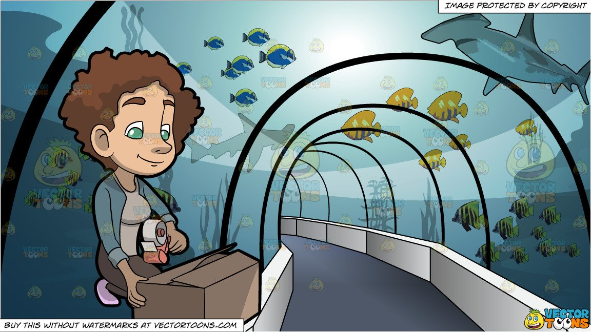 Box tunnel clipart clip art download A Woman Sealing The Box In Front Of Her and Tunnel Through An Aquarium  Background clip art download