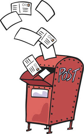 Posf clipart banner library library Stock Illustration - Drawing of a red mail box with letters flying out banner library library