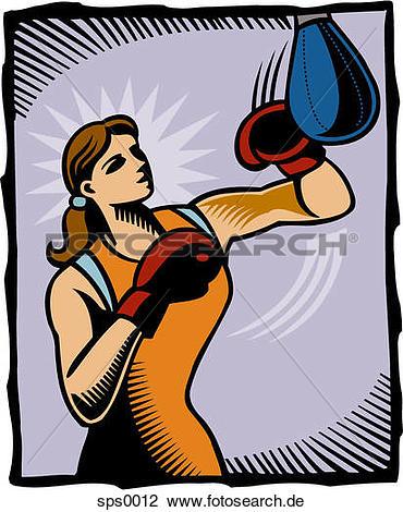 Clip art a punchingball. Boxen frau clipart