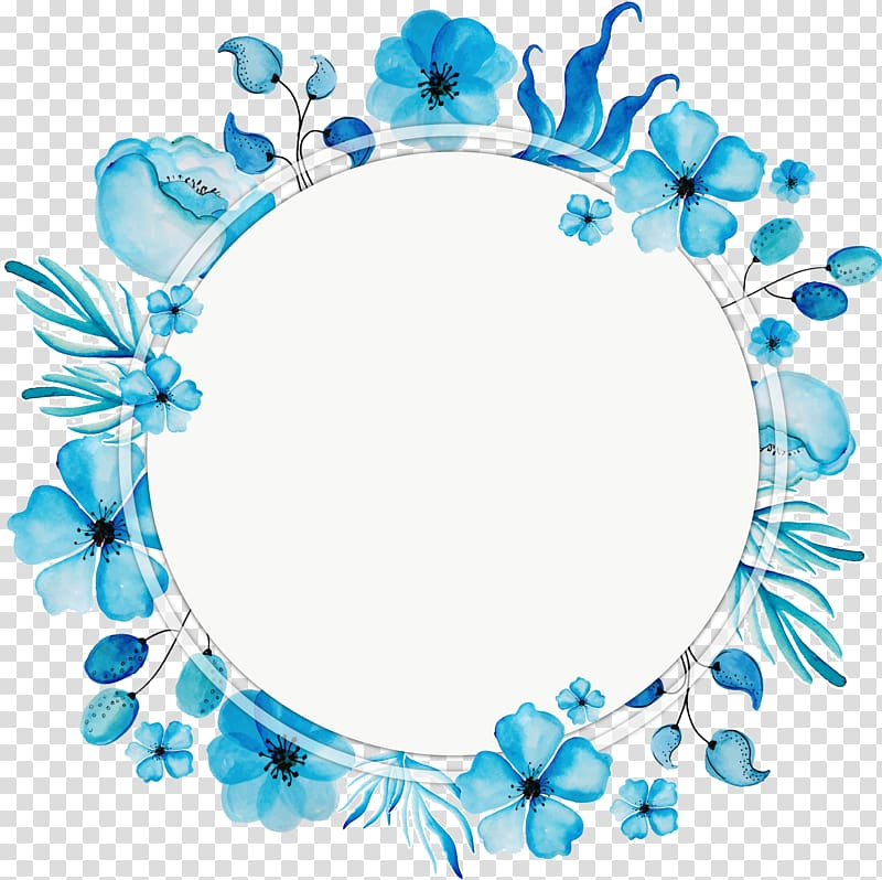 Boxwreath clipart picture black and white library Flower, Watercolor blue wreath title box, blue flower frame ... picture black and white library