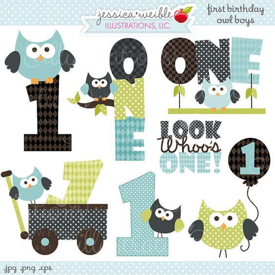 Boy 1st birthday clipart clip transparent First Birthday Boy Owls Cute Digital Clipart - Commercial Use OK ... clip transparent