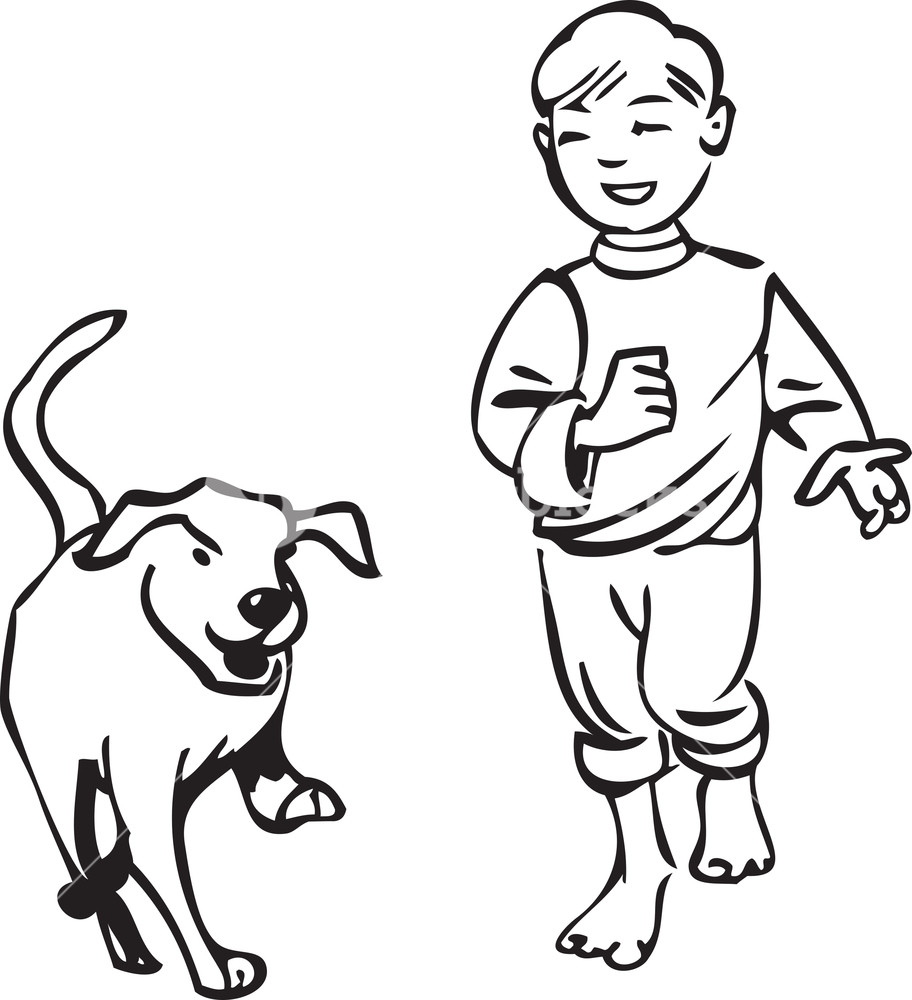 Boy and dog clipart black and white banner library download Illustration Of A Boy With Dog. Royalty-Free Stock Image ... banner library download