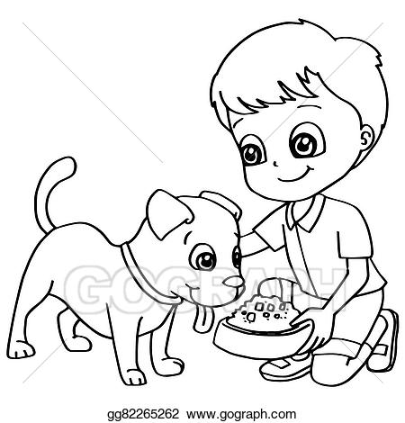 Boy and dog clipart black and white black and white Vector Illustration - Coloring book child feeding dogs ve. Stock ... black and white