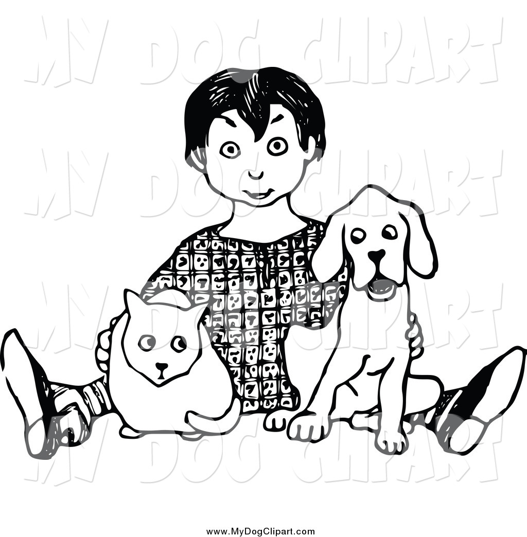 Boy and dog clipart black and white svg library stock Clip Art of a Black and White Boy Sitting with a Cat and Dog by ... svg library stock