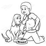 Boy and dog clipart black and white clip library stock Boy Feeding Dog clip library stock