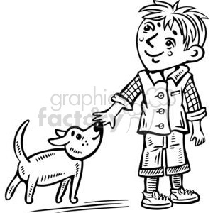 Boy and dog clipart black and white royalty free stock young boy walking his dog clipart. Royalty-free clipart # 381544 royalty free stock