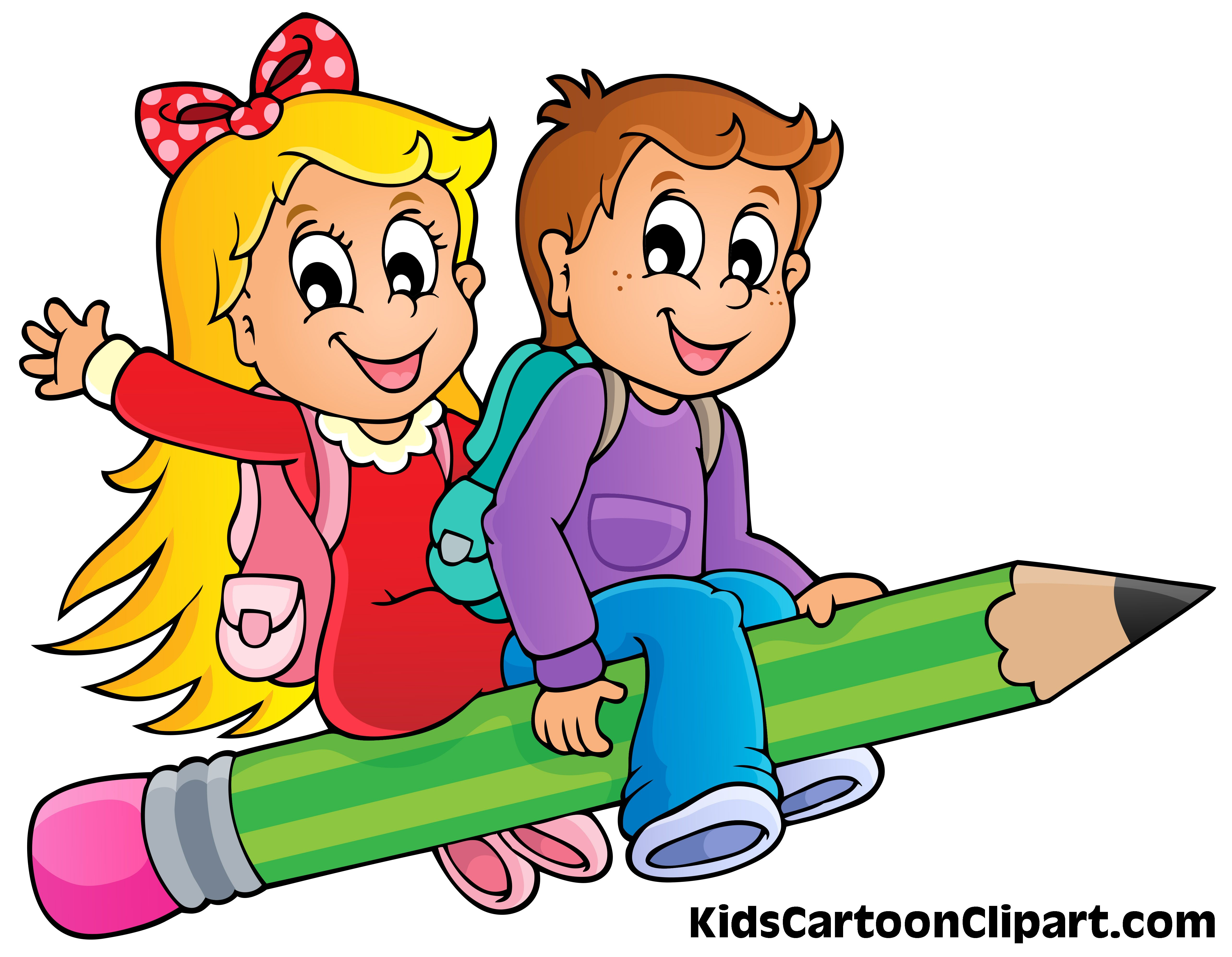 Boy and girl clipart free svg library download A Cute Boy and Girl Cartoon Flying on Pencil with School Bag Clipart ... svg library download