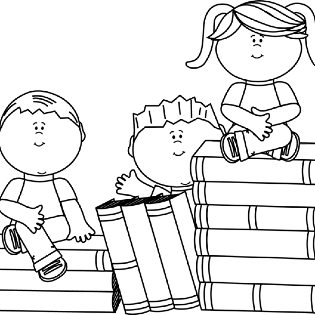 Boy and girl reading clipart black and white graphic black and white stock Banner Library Library Read Book Vector Royalty - Students Reading ... graphic black and white stock