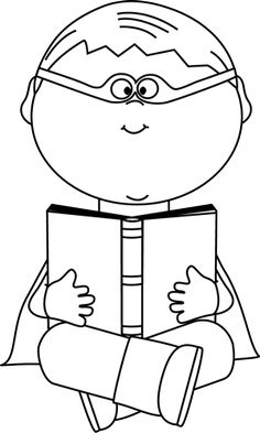 Boy and girl reading clipart black and white clipart free Black And White Clipart Boy | Free download best Black And White ... clipart free