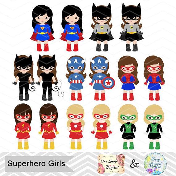 Boy and girl superhero clipart jpg freeuse 32 Superhero Girls Digital Clipart, Superhero Clip Art, Girl ... jpg freeuse