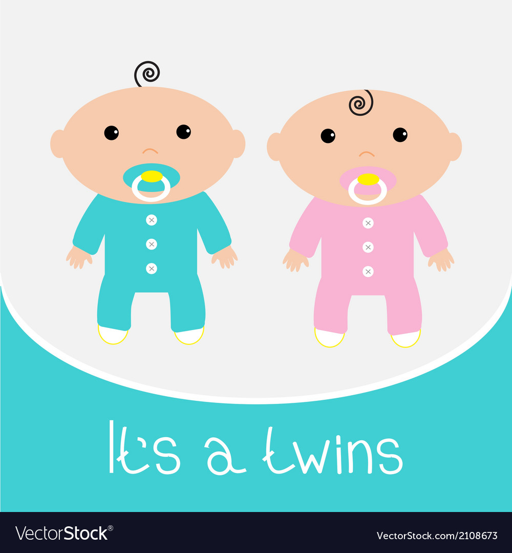 Boy and girl twins clipart banner transparent download Baby shower card Its a twins boy and girl banner transparent download