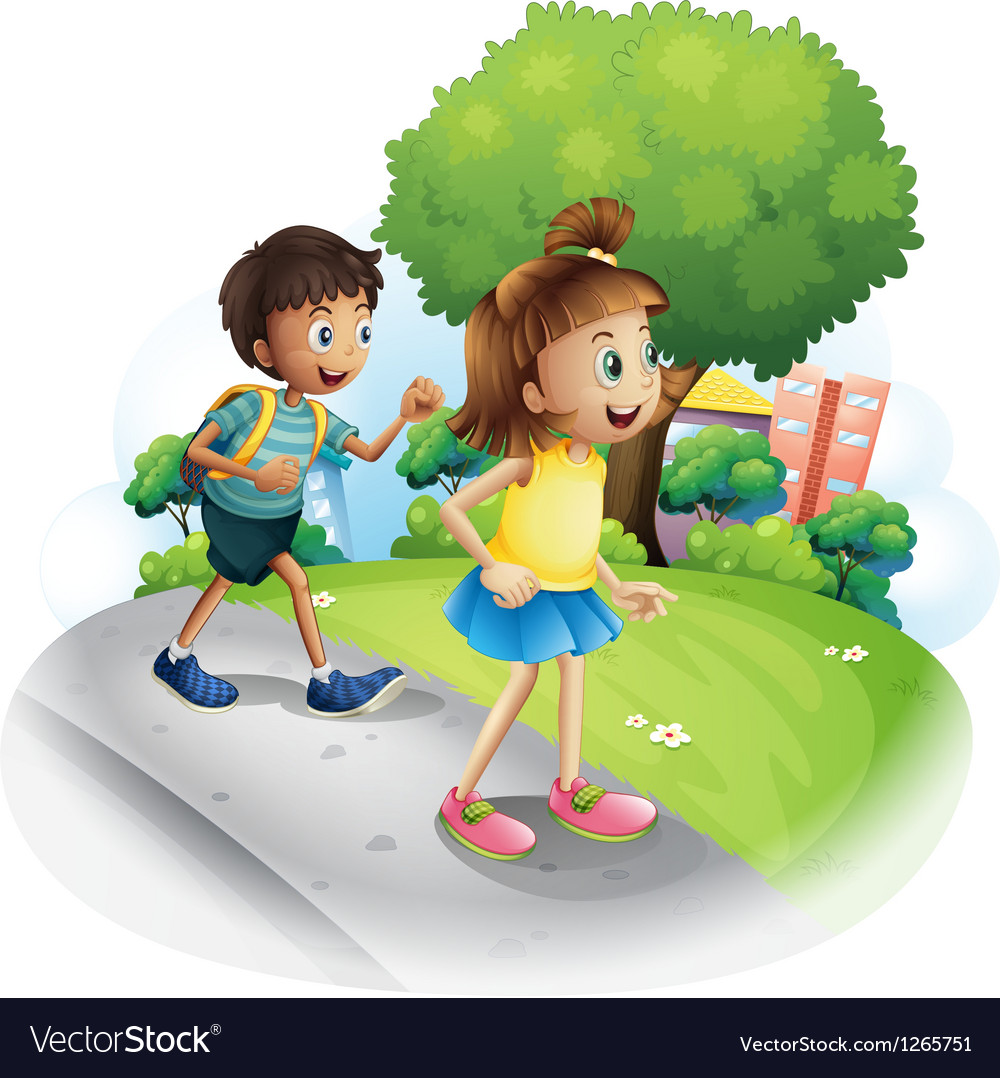 Boy and girl walking clipart svg library stock A girl and a boy walking along the street svg library stock