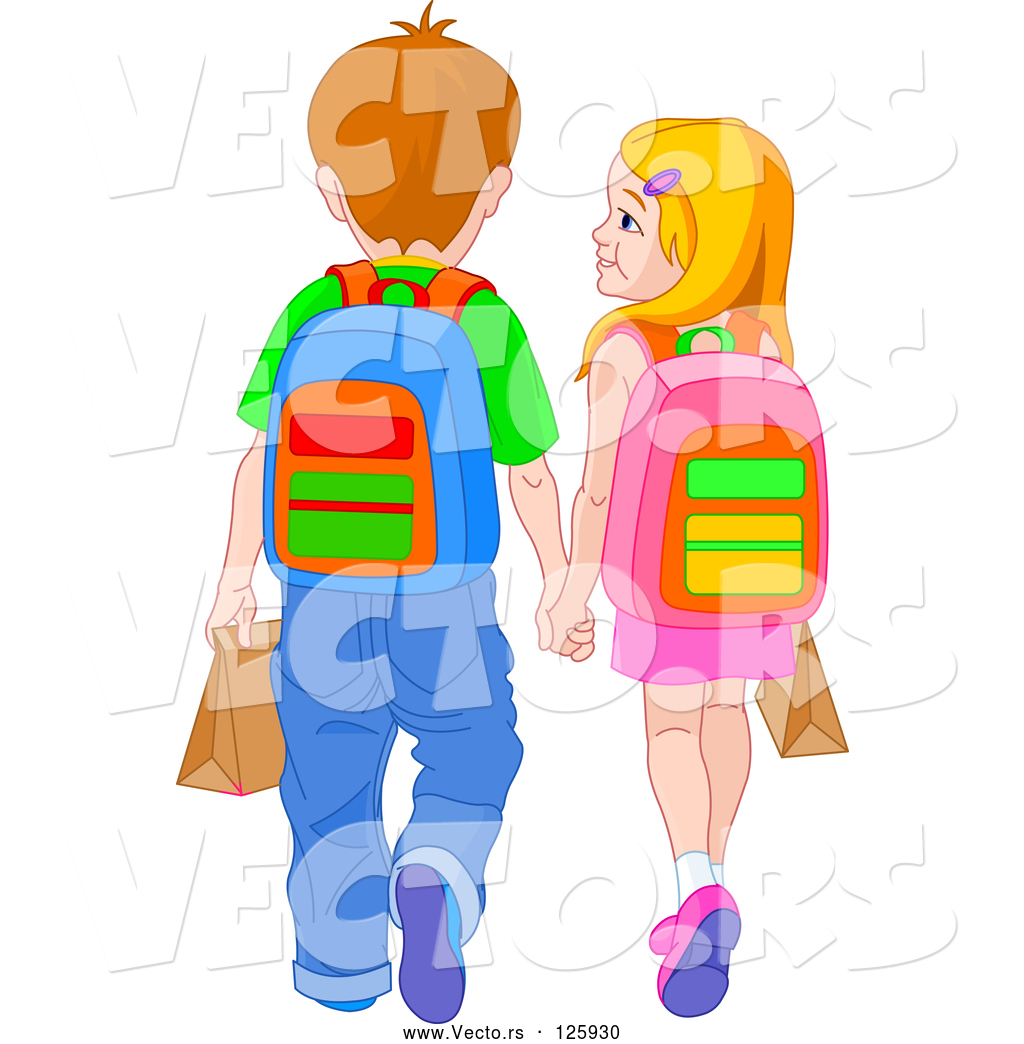 Boy and girl walking clipart graphic royalty free library Vector of School Boy and Girl Holding Hands and Walking by Pushkin ... graphic royalty free library