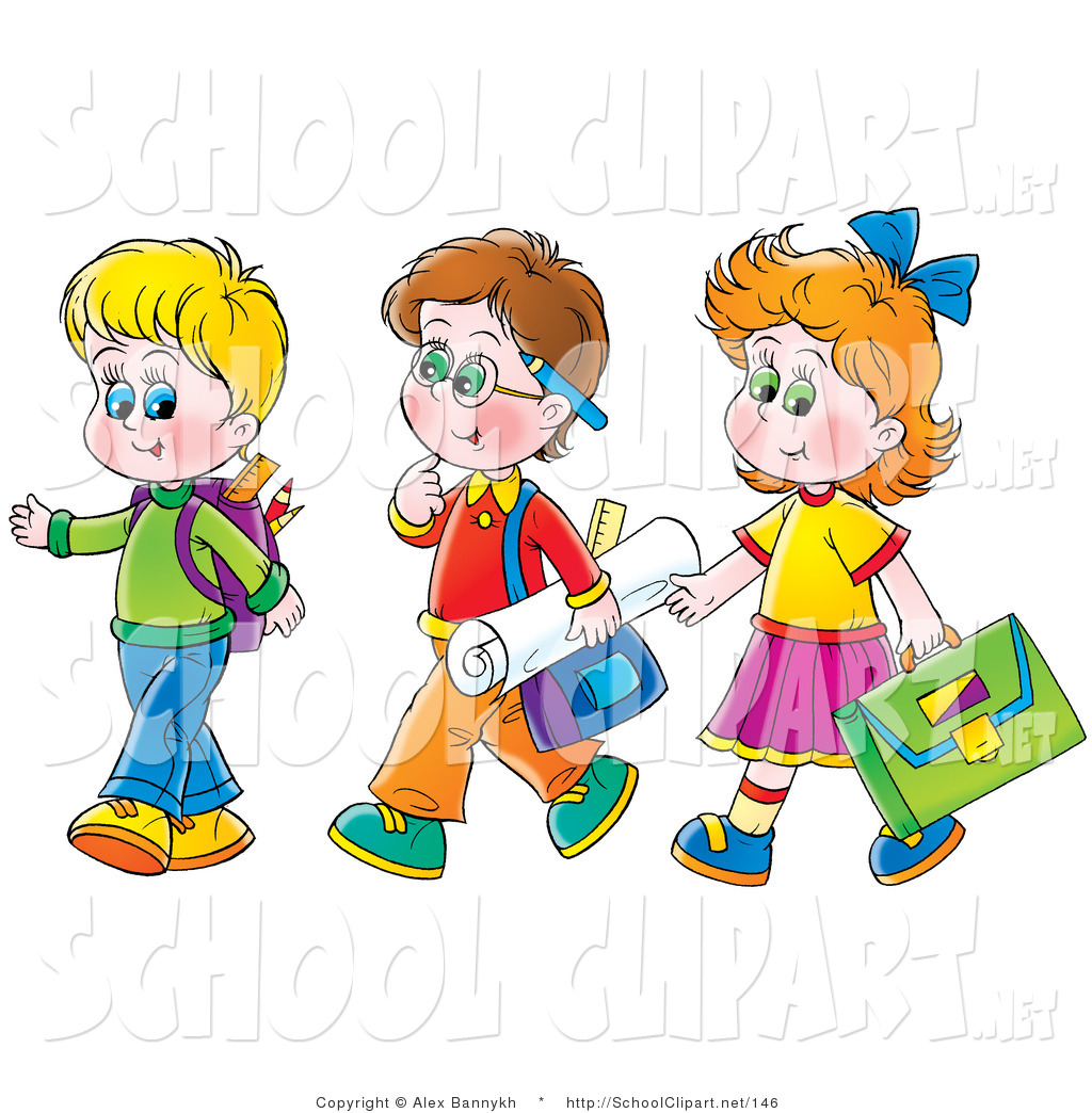 Boy and girl walking clipart banner royalty free stock Clip Art of a Trio of Friends - a Girl Walking with Two Boys on the ... banner royalty free stock