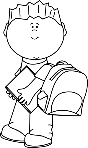 Boy at school clipart balck and white picture library library Black and White Boy Carrying Book to School Clip Art - Black and ... picture library library
