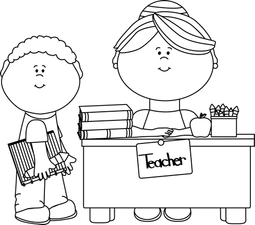 Students at school clipart black and white image library library clip art black and white | Black and White Boy Student at Teacher\'s ... image library library