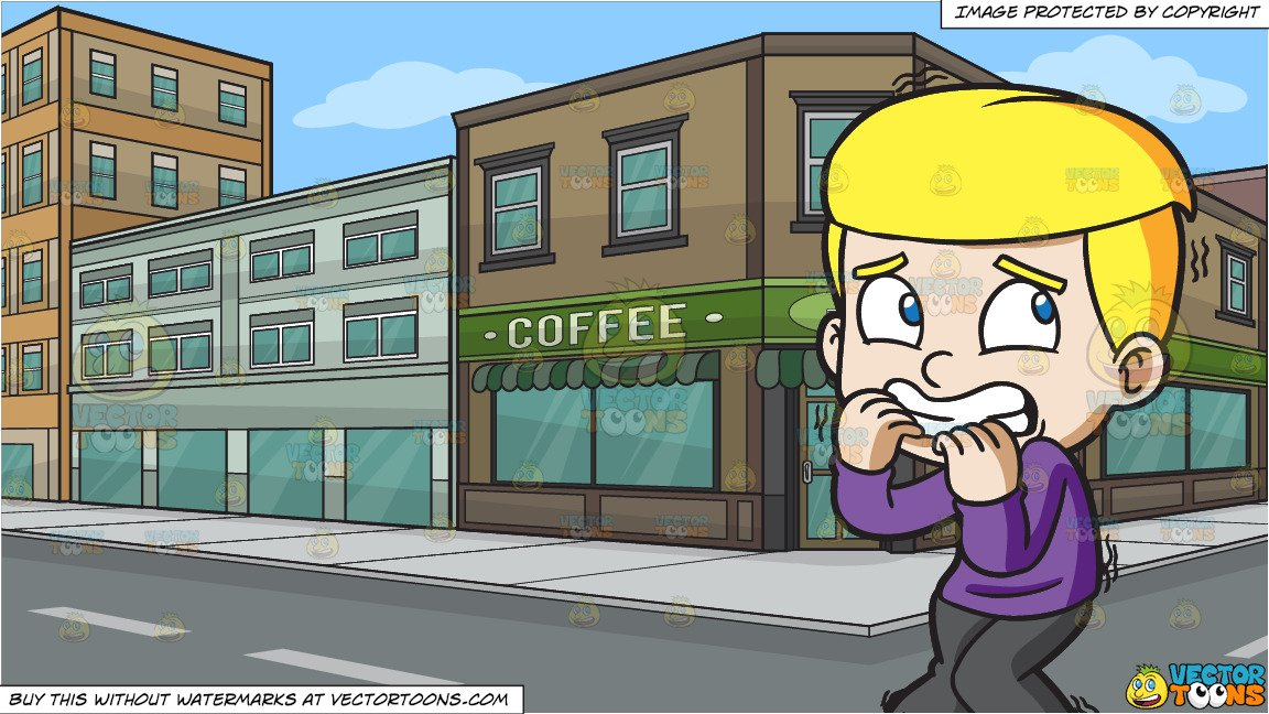 Boy at the coffee shop clipart black and white clip art transparent stock A Scared And Shaking Boy and The Exterior Of A Coffee Shop Background clip art transparent stock