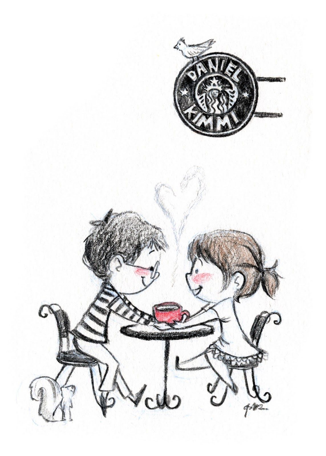 Boy at the coffee shop clipart black and white png free download Coffee Date | iliketodraw in 2019 | Couple drawings, Couple sketch ... png free download