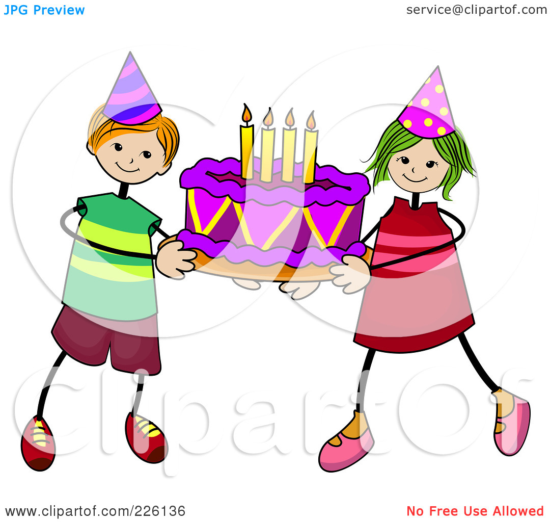 Boy birthday cake clipart jpg library library Royalty-Free (RF) Clipart Illustration of a Stick Boy And Girl ... jpg library library