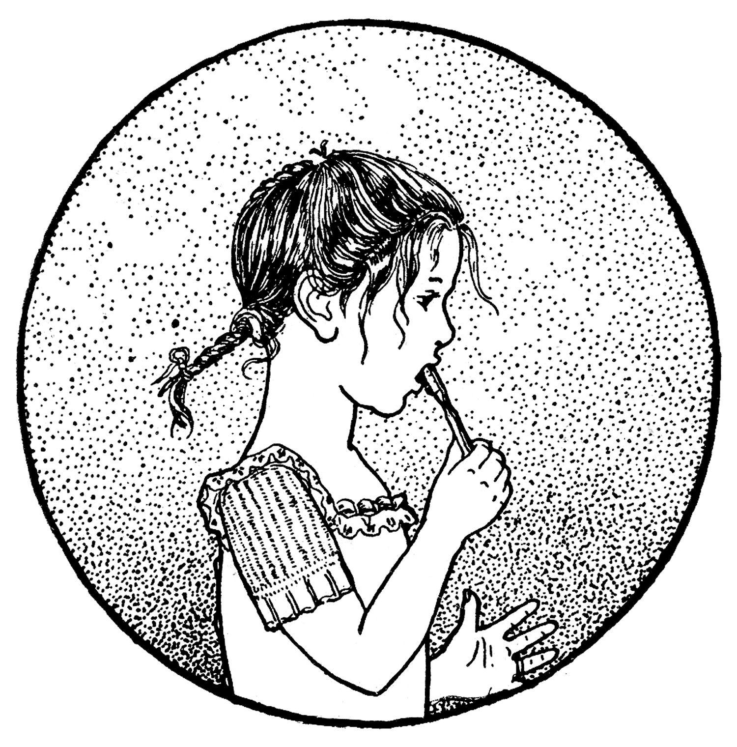 Girl brushing teeth black and white clipart clip transparent stock Vintage Clip Art - Boy & Girl Brushing Teeth   Printables   Graphics ... clip transparent stock