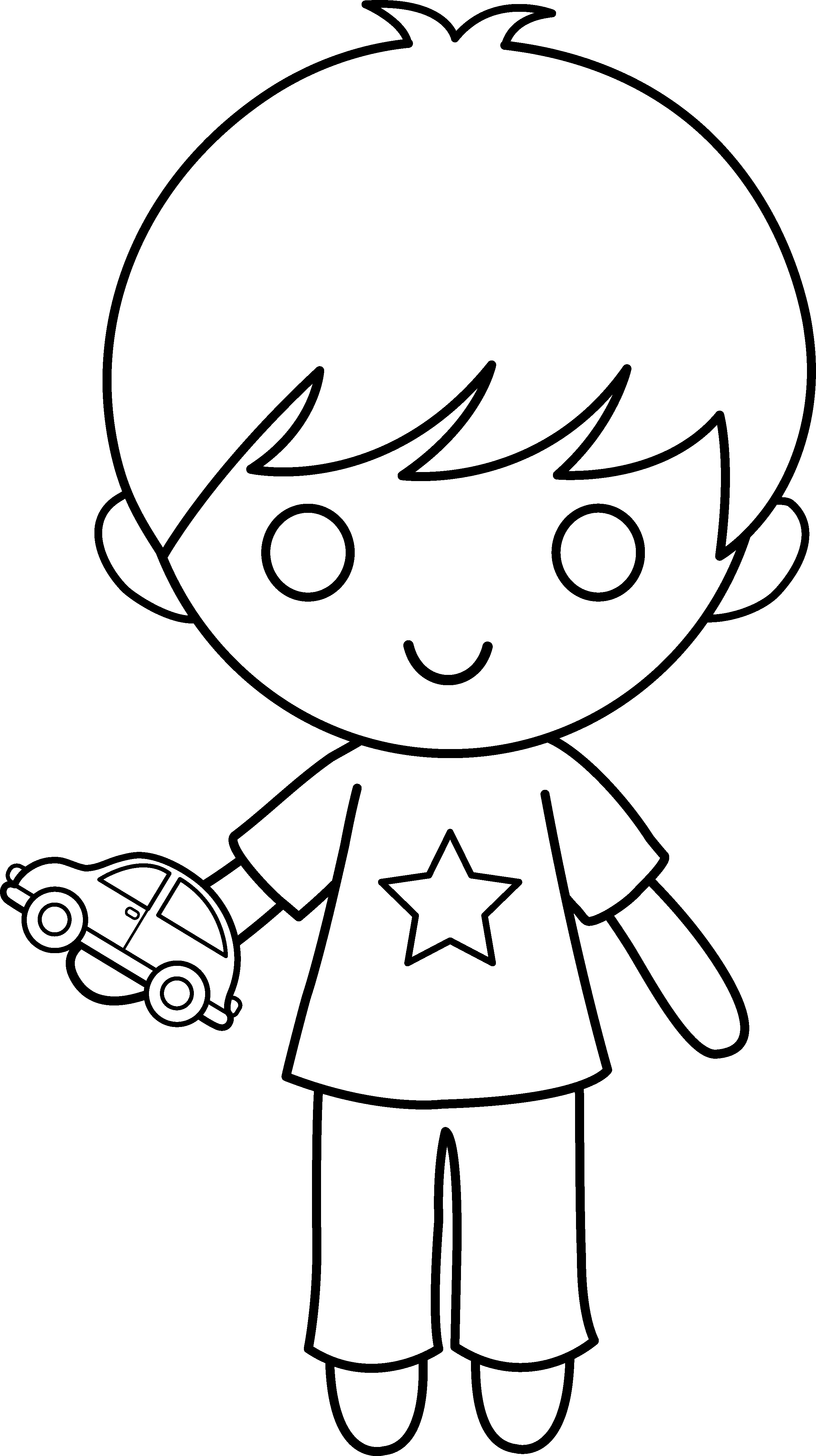 Boy car clipart vector black and white stock Boy With Toy Car Coloring Page - Free Clip Art vector black and white stock