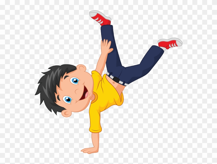 Boy cartwheel clipart clipart stock The Boy Is Turning Cartwheels With Glee - Boy Cartoon Standing ... clipart stock