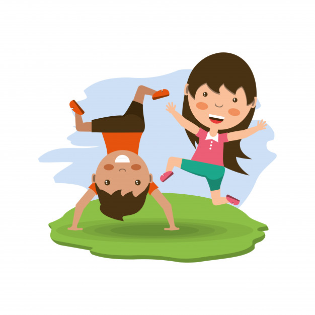 Boy cartwheel clipart vector free stock Cartoon happy kids doing cartwheel Vector | Premium Download vector free stock