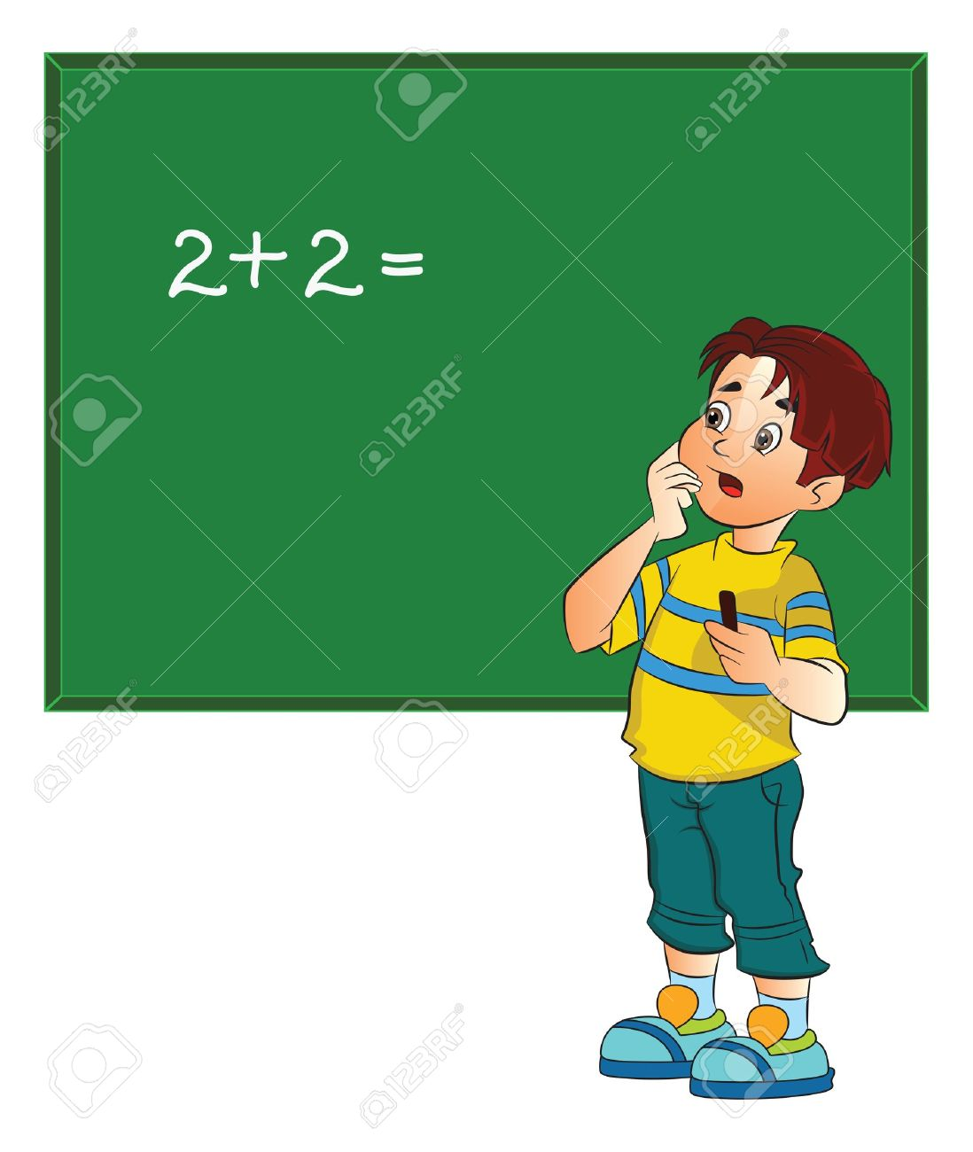 Boy chalkboard clipart picture Boy Solving A Math Problem On A Chalkboard, Illustration Royalty ... picture