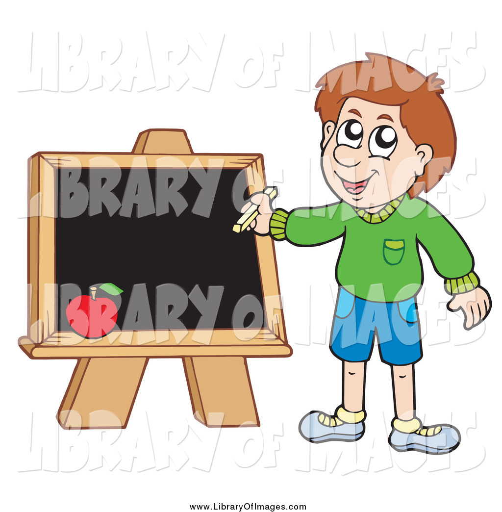 Boy chalkboard clipart svg black and white stock Clip Art of a White School Boy Writing on a Chalkboard by visekart ... svg black and white stock