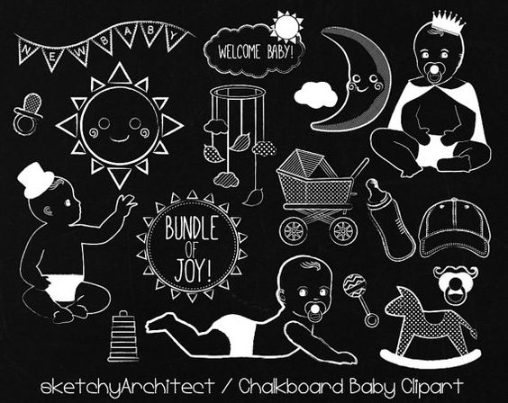 Boy chalkboard clipart picture freeuse Chalkboard Baby Clipart Digital (Instant Download) by ... picture freeuse