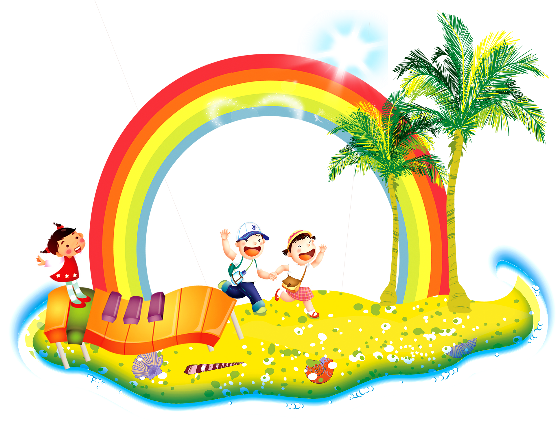 Rainbow tree clipart free library Ides Dimages De Coconut Tree Cartoon Drawing free library