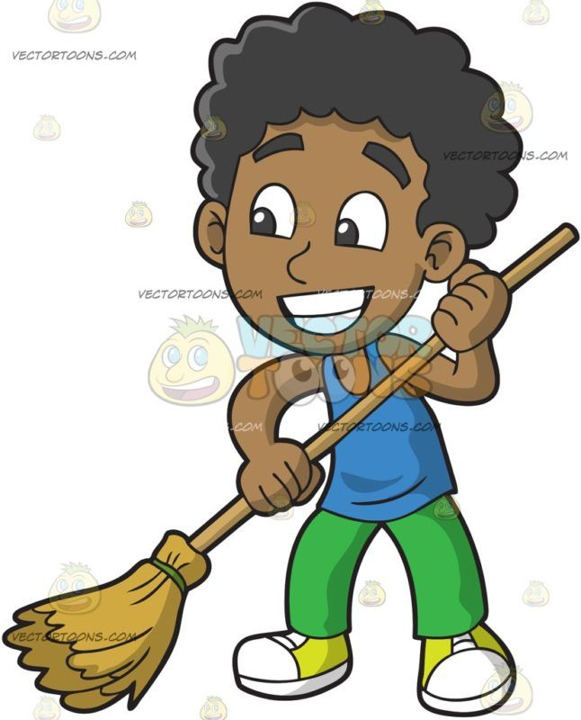 Boy curley hair feeding a dog clipart images png black and white stock A Black Boy Sweeping The Floor : A black boy with curly hair wearing ... png black and white stock