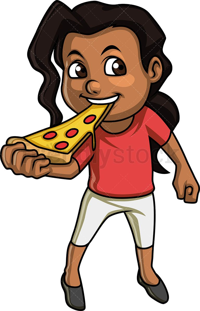 Boy curley hair feeding a dog clipart images graphic library download Black Little Girl Eating Pizza | meemo | Pizza cartoon, Black little ... graphic library download