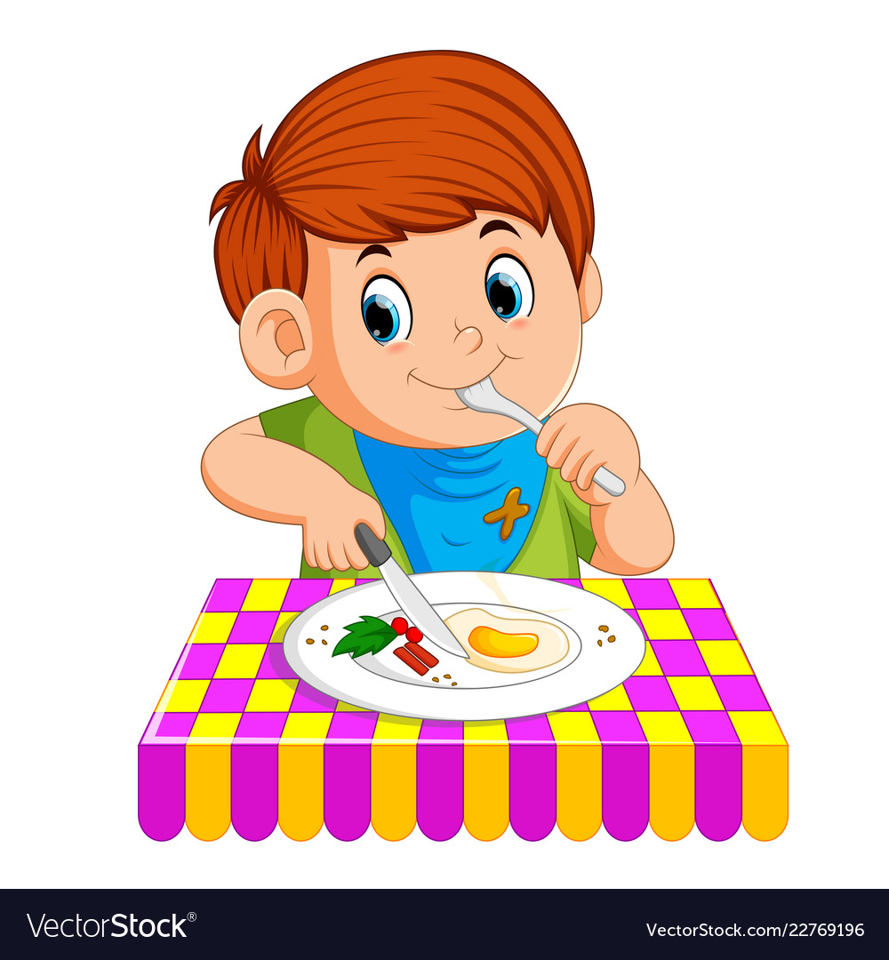 Teenager eating breakfast clipart free A young boy sitting while enjoy having breakfast free