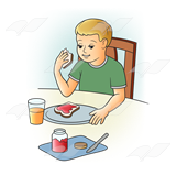 Boy eating breakfast clipart free library Boy Eating Breakfast, orange juice, toast, and jam free library