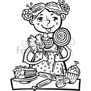Boy eating candy clipart jpg transparent stock girl eating a lot of candy and snacks clipart. Royalty-free clipart # 381520 jpg transparent stock