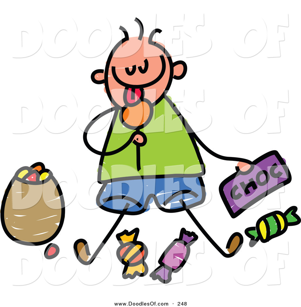 Boy eating candy clipart banner library stock Vector Clipart of a Childs Sketch of a Boy Sitting Eating Candy by ... banner library stock