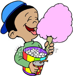 Boy eating candy clipart graphic royalty free Little Boy Eating Cotton Candy and Popcorn At the Circus - Royalty ... graphic royalty free