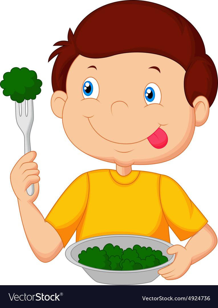 Boy eating vegies clipart
