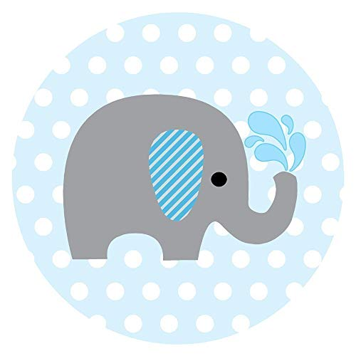 Boy elephant baby shower clipart picture library Baby Boy Elephant Stickers for Baby Shower and Birthday Favor Labels in  Blue Polka Dot - Set of 50 picture library