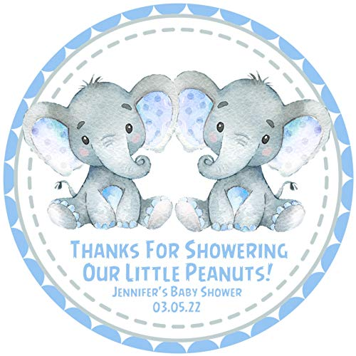 Boy elephant baby shower clipart clipart royalty free library Amazon.com: Twin Boys Elephant Baby Shower Favor Stickers, Boys Blue ... clipart royalty free library