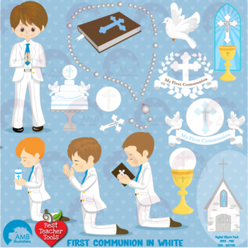Boy first communion clipart clip freeuse Christian Clipart, First Communion, Boys, Catholic clipart, Catechism,  AMB-1262 clip freeuse