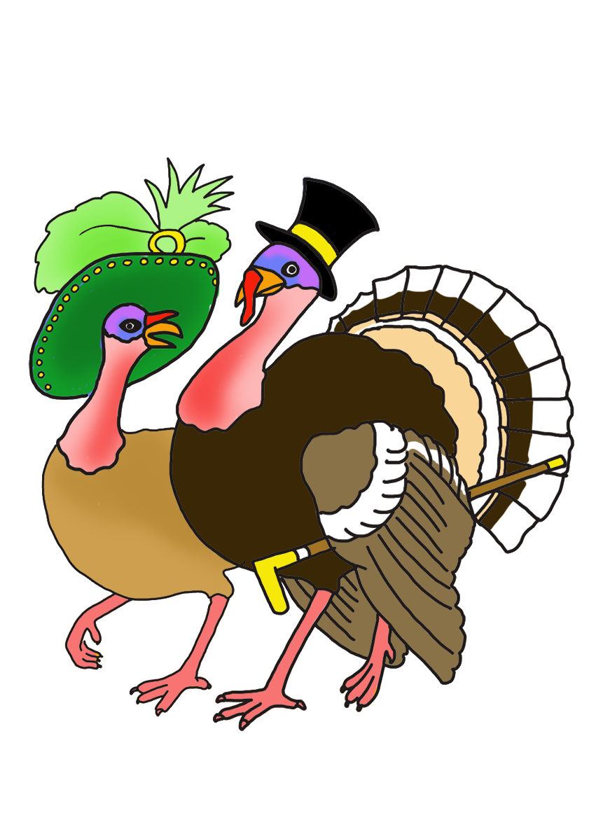 Easy turkey clipart. Happy thanksgiving couple parade