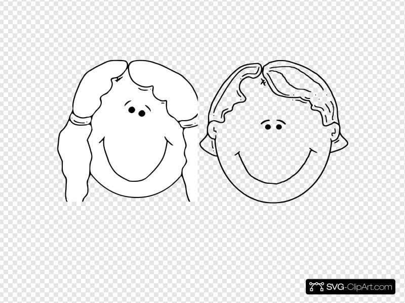 Boy girl face clipart black and white clipart transparent library Boy And Girl Faces Clip art, Icon and SVG - SVG Clipart clipart transparent library