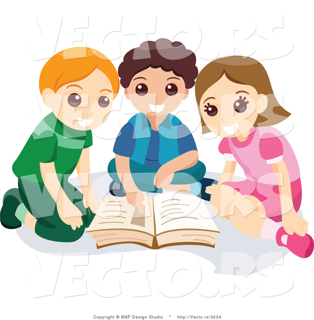 Boy girl reading clipart clip transparent stock Vector of Young Girl and Two Boys Reading School Book Together by ... clip transparent stock
