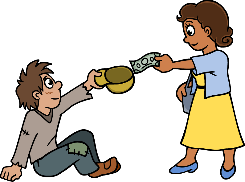 Boy giving money to lady clipart download Poverty clipart enough money ~ Frames ~ Illustrations ~ HD images ... download