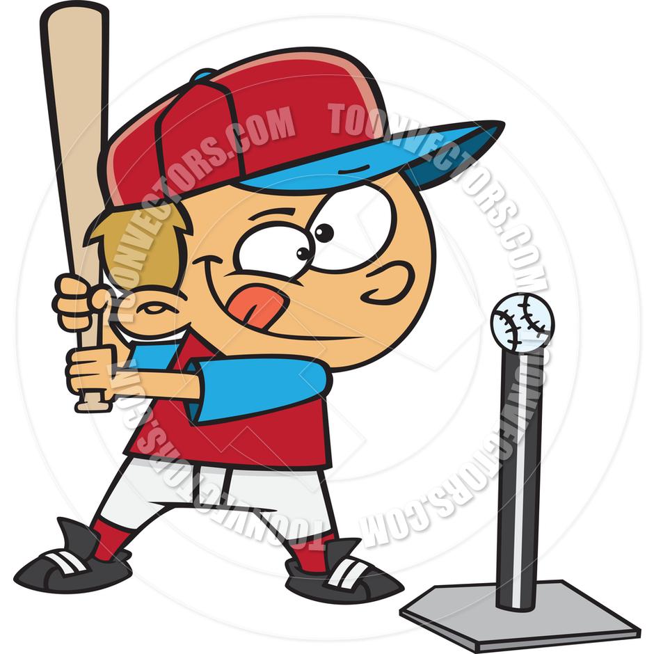 T ball clipart images jpg stock Cartoon Boy Baseball Player Hitting Tee Ball By Ron - Free Clipart jpg stock