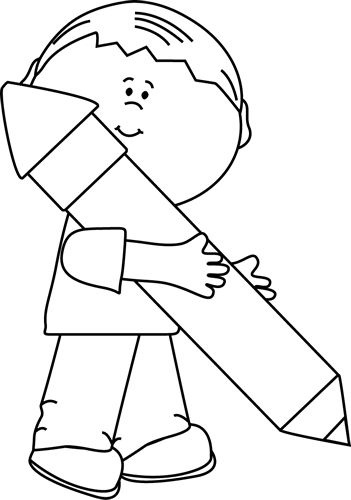 Boy holding clipart black and white image royalty free Black And White Boy Holding A Big Pencil Clip Art – Black And White ... image royalty free