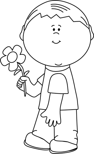Girl holding flowers clipart black and white clipart free download Black and White Boy Holding a Flower Clip Art - Black and White Boy ... clipart free download